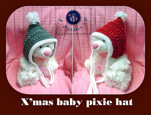 crochet Christmas baby pixie hat