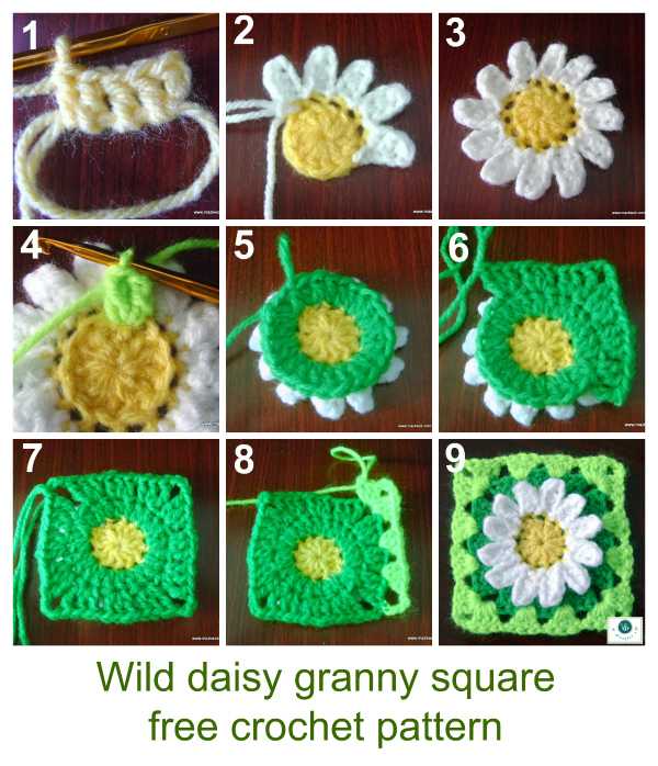 How To Crochet Granny Squares : how to crochet daisy granny square