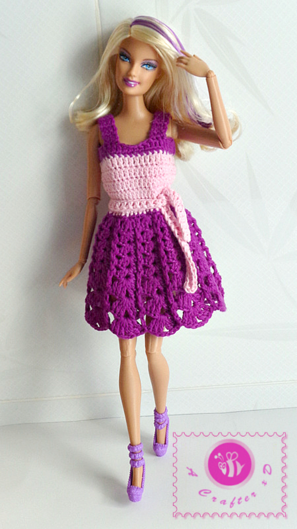 Crochet fashion doll tank dress - Maz Kwok\'s Designs