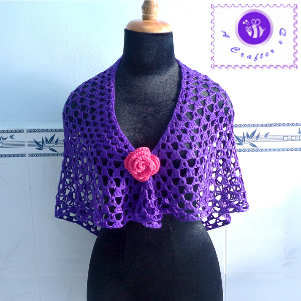 crochet purple glam shawl, crochet shawl free pattern, crochet shawlette