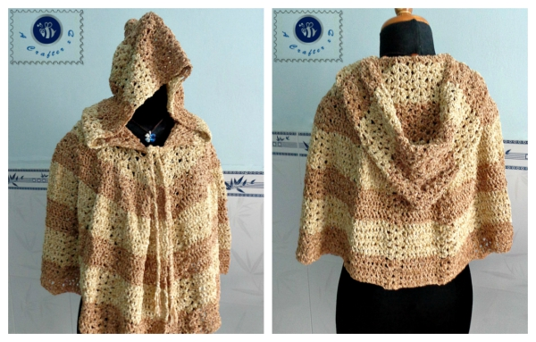Free Crochet Pattern For Hooded Cape : Crochet Scent of Spring hooded cape - Maz Kwoks Designs