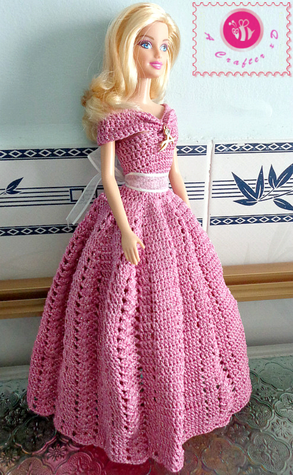 Crochet Fashion Doll Off The Shoulder Dress