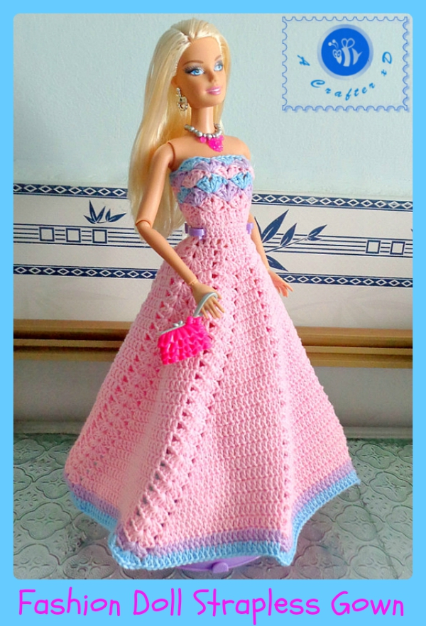 Crochet Fashion Doll Strapless Gown Maz Kwoks Designs
