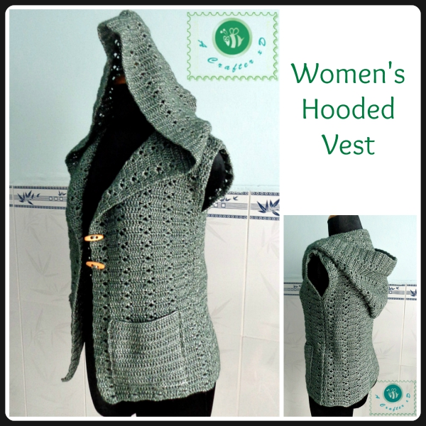 crochet hooded vest, crochet hooded vest free pattern, crochet vest