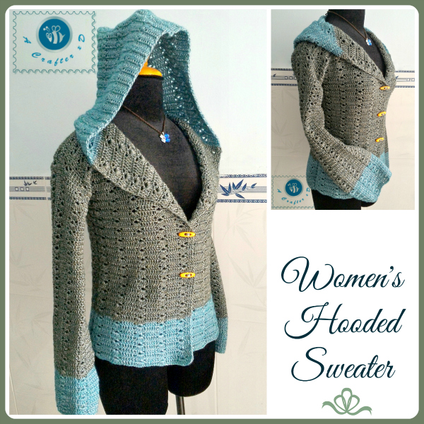 crochet hooded sweater, crochet women's sweater, crochet sweater