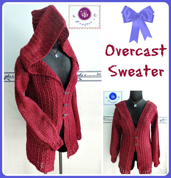 crochet overcast sweater, crochet hooded sweater, crochet sweater