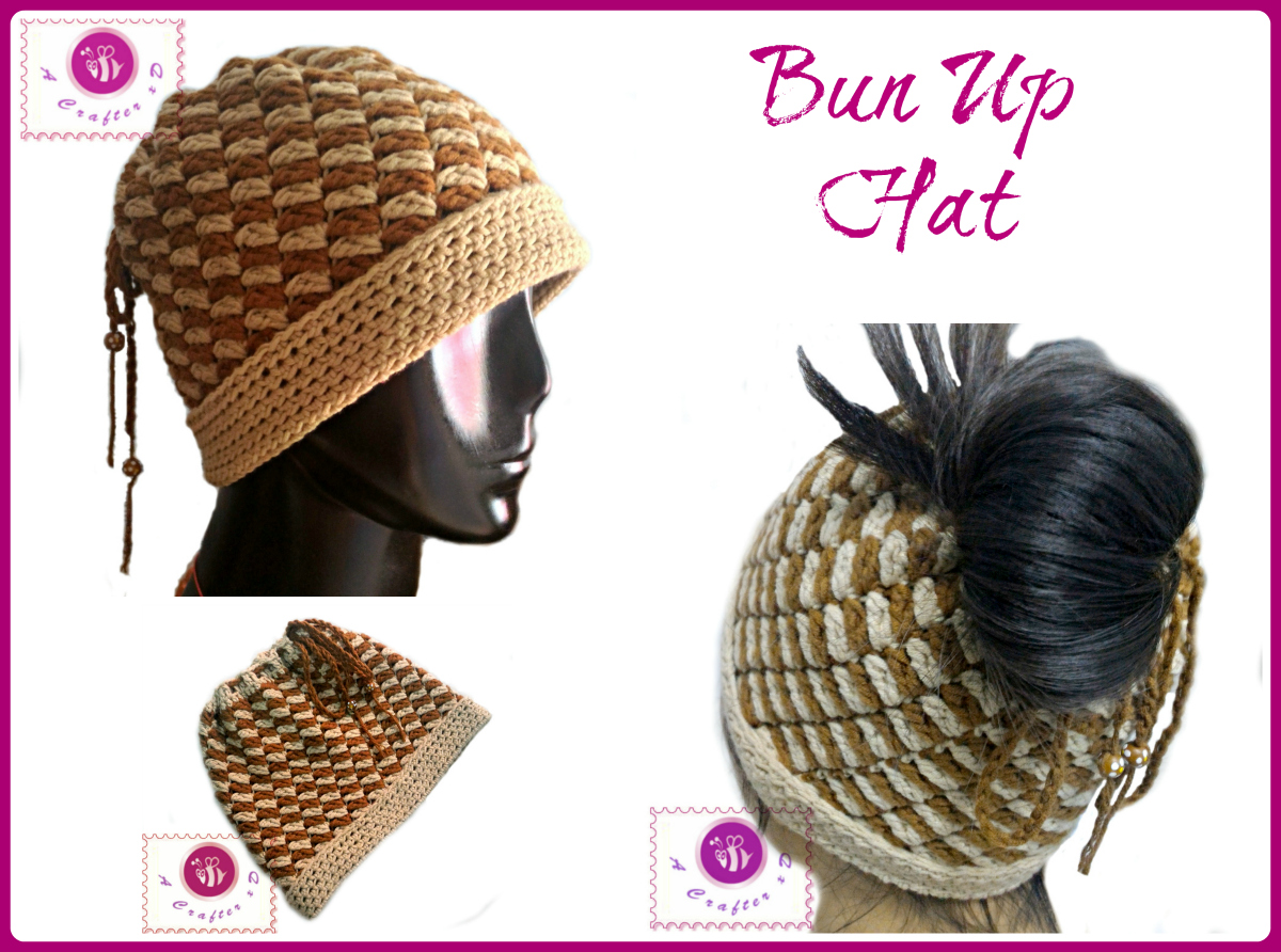 crochet messy bun hat