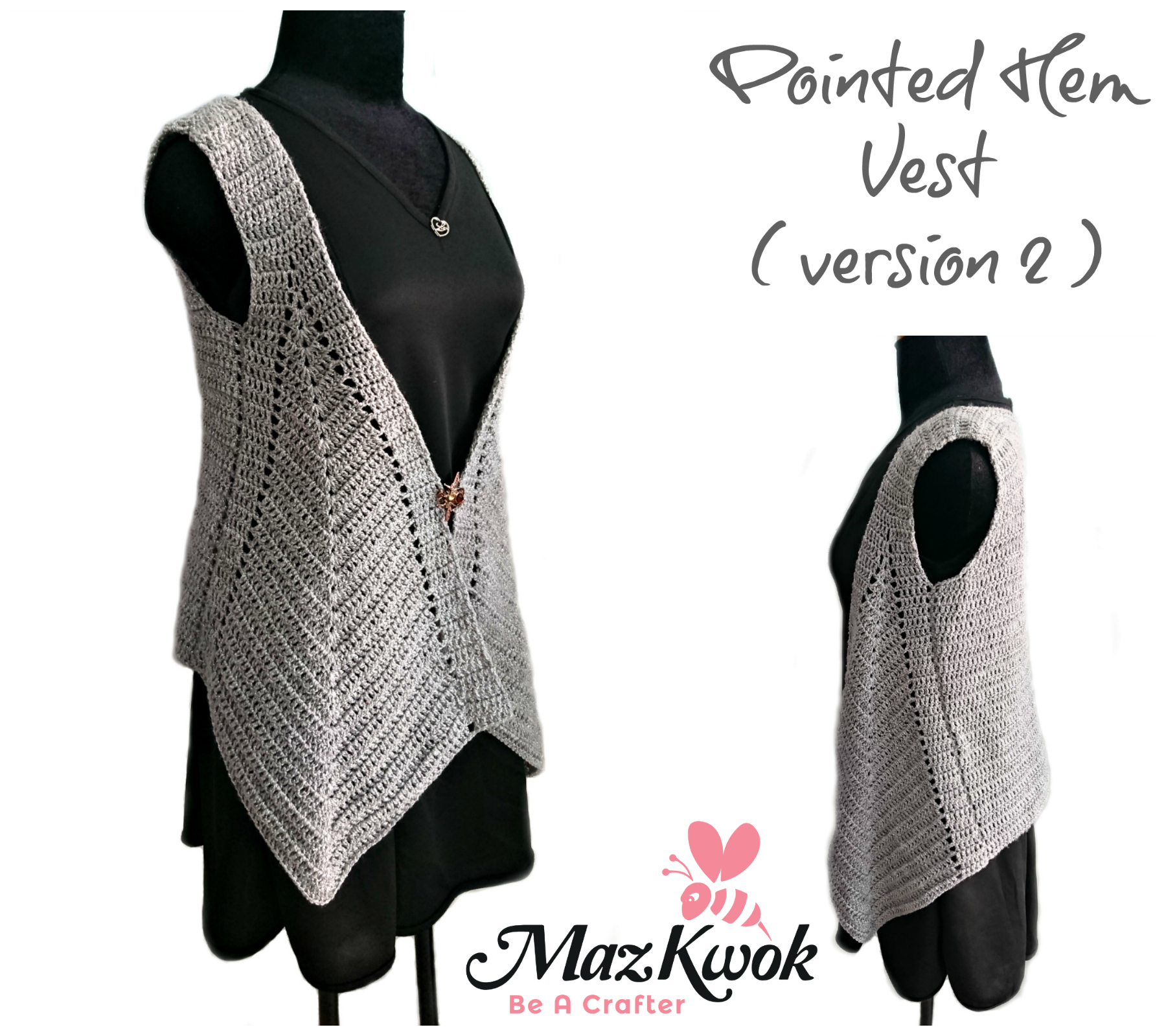 crochet pointed hem vest