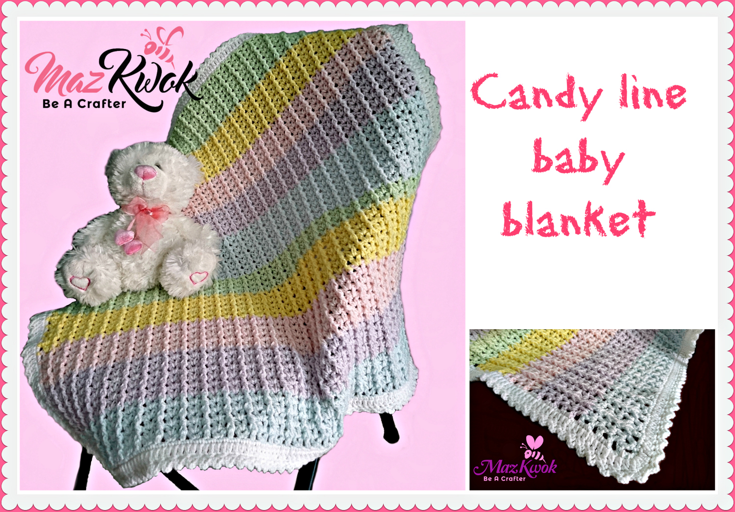Image result for crochet candy line baby blanket
