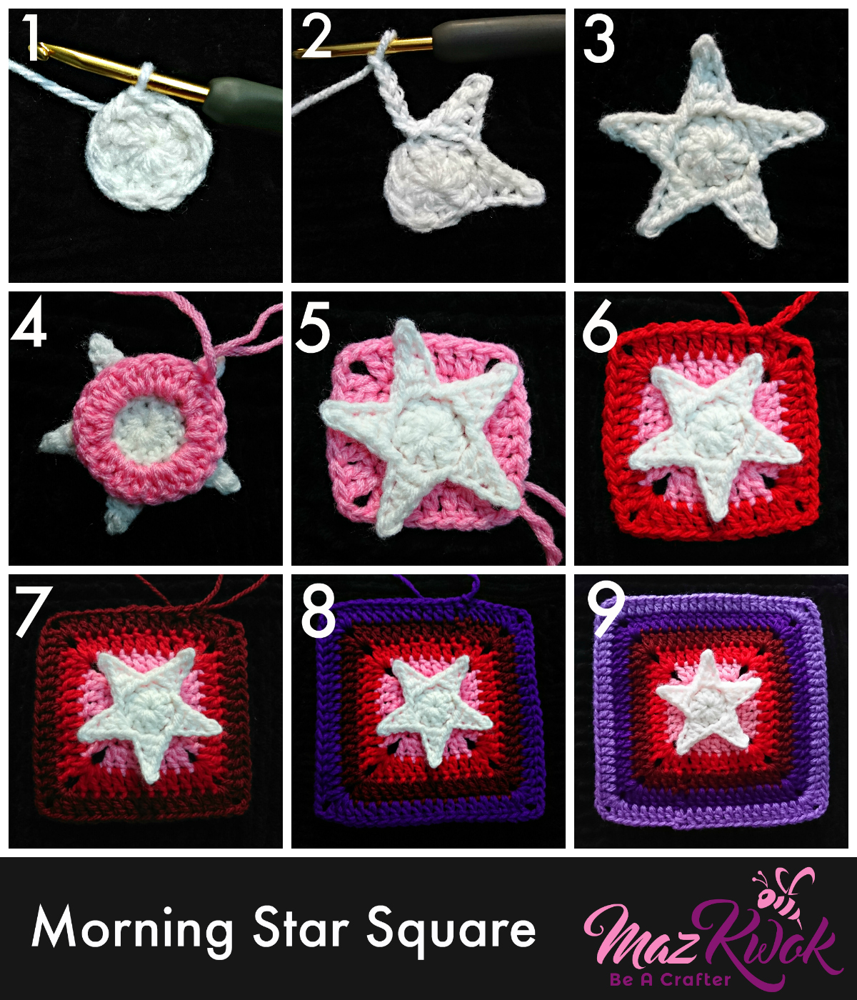 crochet star square tutorial