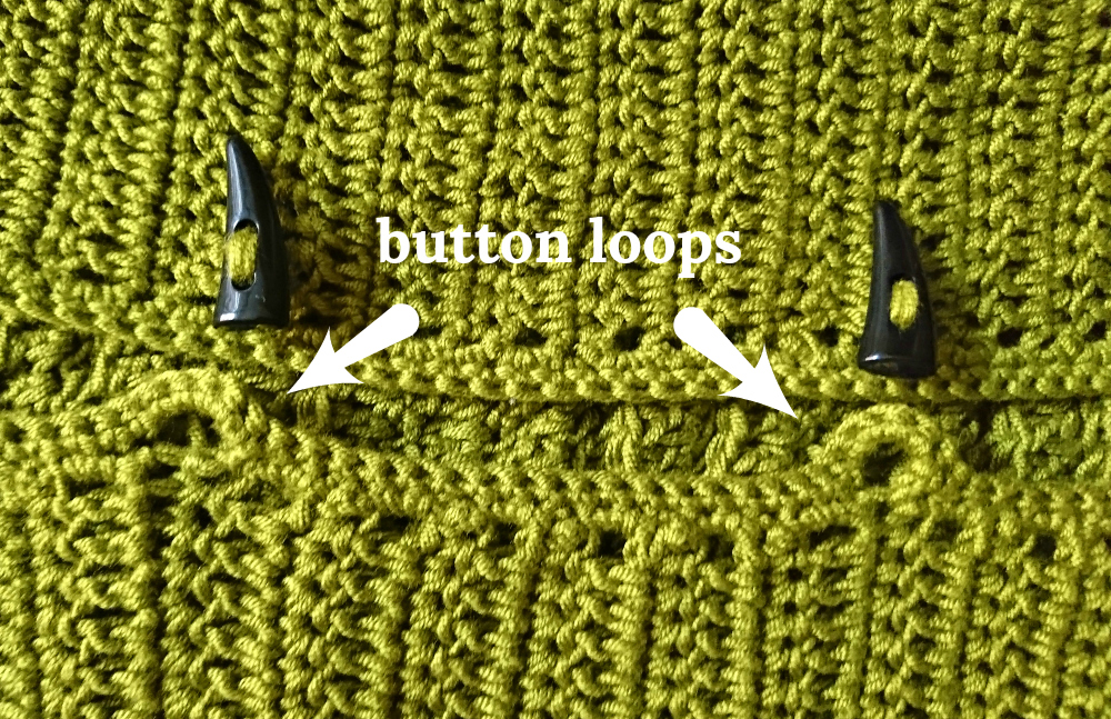 crochet button loops
