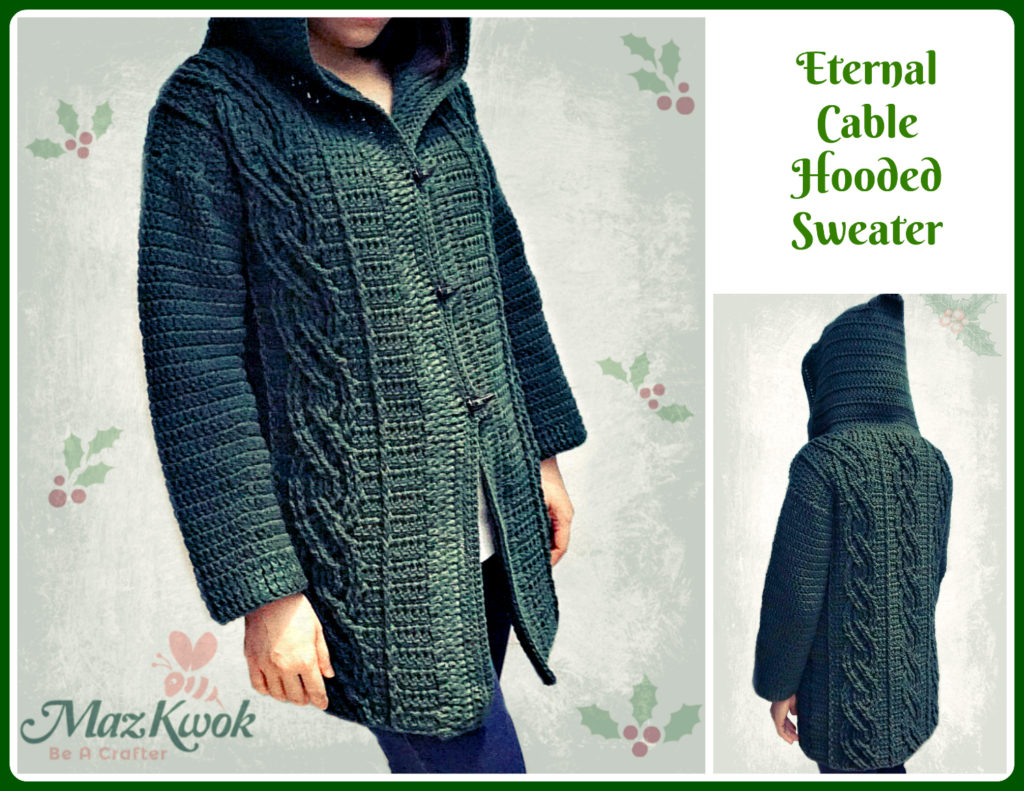 Crochet Eternal cable hooded sweater