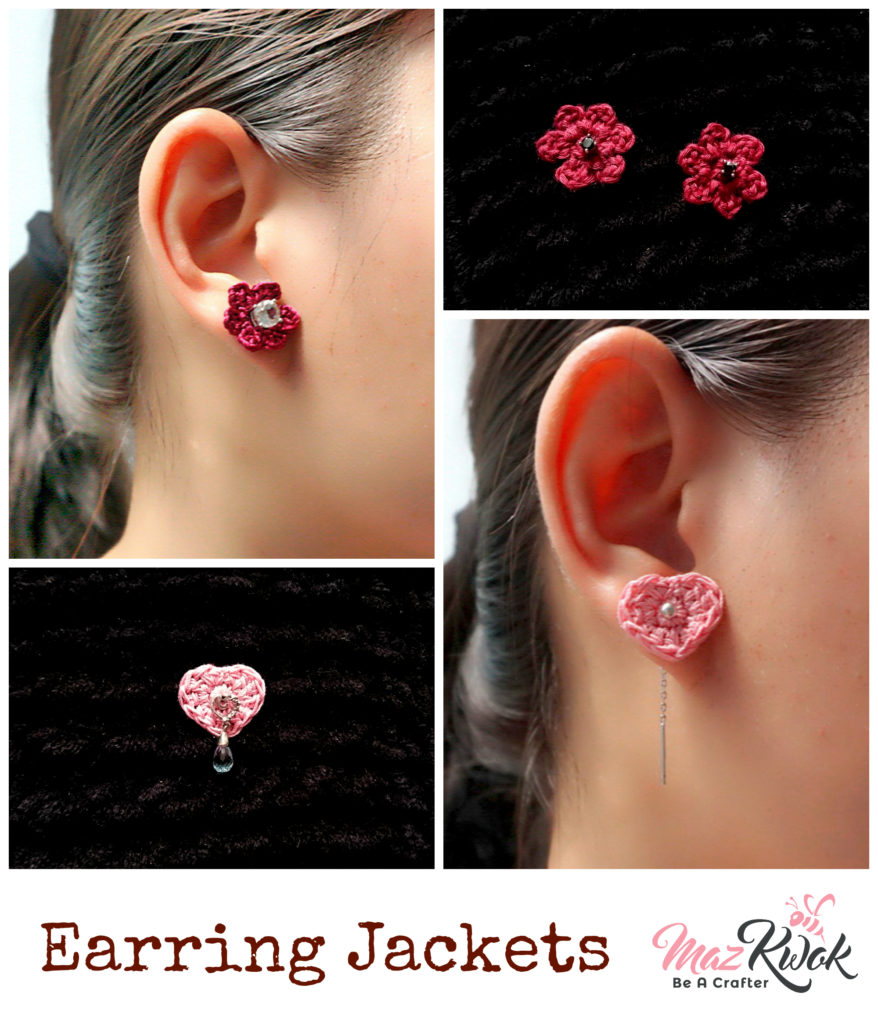 Crochet earring jackets
