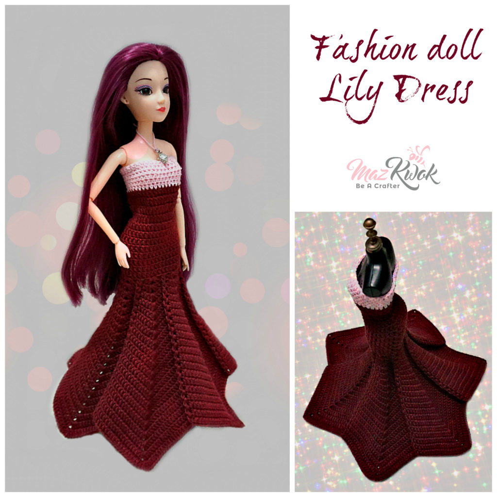 Crochet fashion doll Lily dress