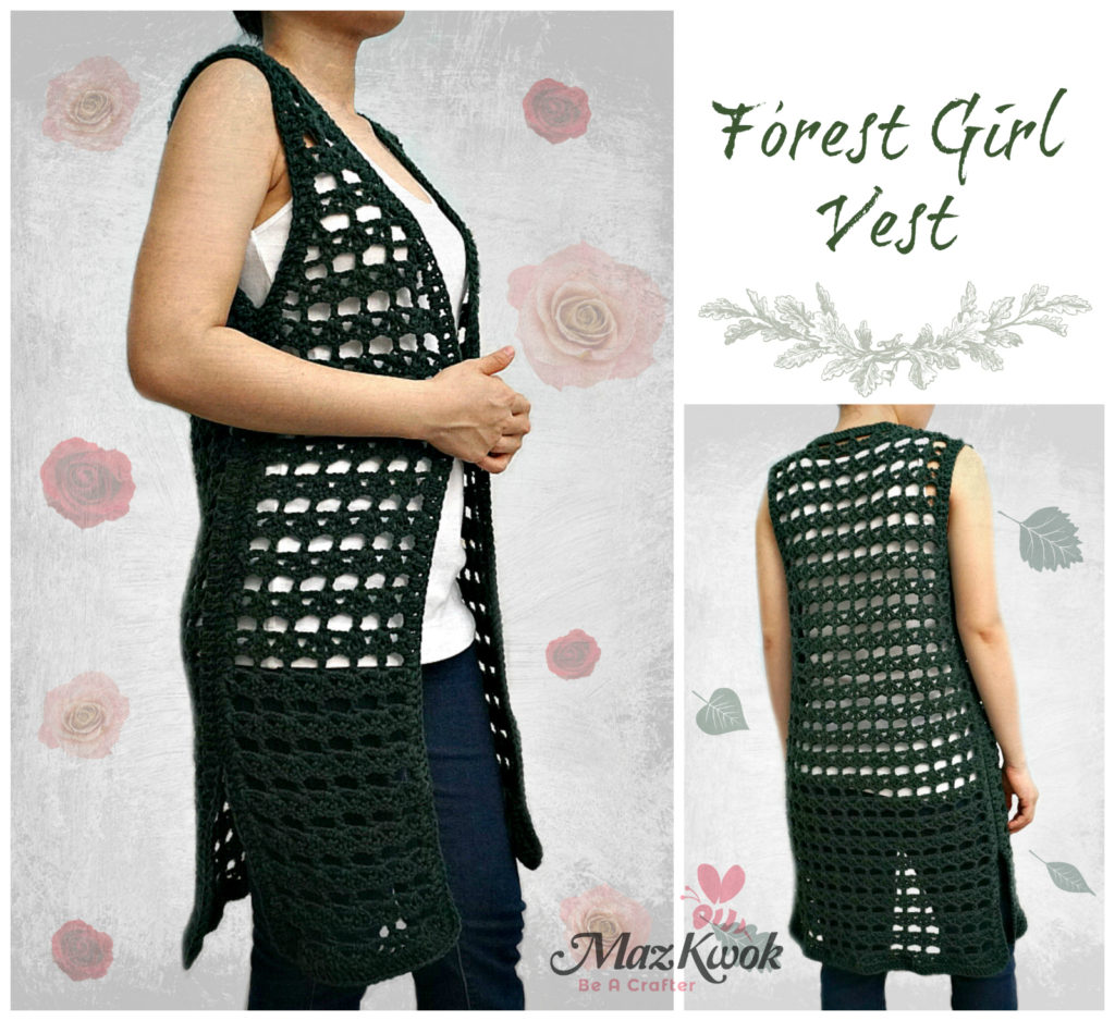 Crochet forest girl vest